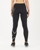 2XU Run Mid-Rise Dash Comp Women - Tights - Svart/ Sølv (WA5988b-S)