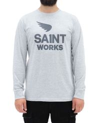 SA1NT Works Logo Long Sleeve - Trøye - Grey Marle