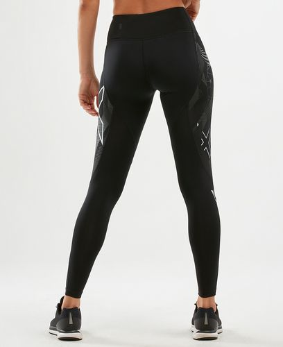 2XU Mid-Rise Textural Comp Womens - Tights - Black/ Textural Geo (WA6068b)