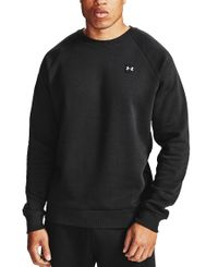 Under Armour Rival Fleece Crew - Genser - Black/ Onyx White (1357096-001)
