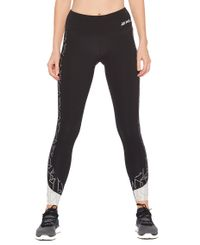 2XU Fitness Mid-Rise Line Up Womens - Tights - Black/Geo Lines