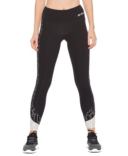 2XU Fitness Mid-Rise Line Up Womens - Tights - Black/Geo Lines (WA5989b)