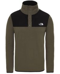 The North Face M TKA Glacier Snap-Neck - Genser - Taupe Green/ Black (0A4AJDBQW1)