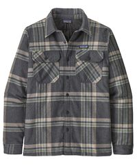 Patagonia M's Insulated Organic Cotton MW Fjord Flannel - Skjorte - Growlers Plaid: Ink Black