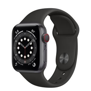 APPLE Watch Series 6 GPS + Cellular, 40mm Space Gray Aluminium Case with Black Sport Band (M06P3KS/A)