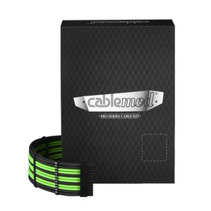 CableMod PRO ModMesh AXi, HXi & RM Kit - BLACK / LIGHT GREEN (CM-PCSI-FKIT-NKKLG-R)