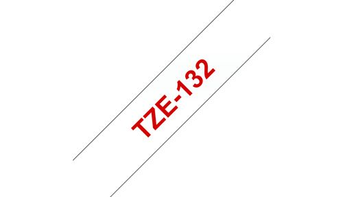 BROTHER 12MM Red On Clear Tape (TZE132)