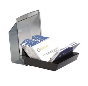 - KARTOTEKSBOX LUKKET ROLODEX SORT, M/500 KARTOTEKSKORT 57X102MM OG INDEKS (135478)