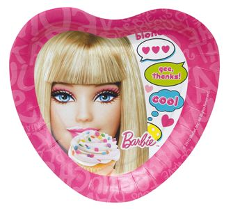 Barbie Papptallerkner,  medium (18 cm) (136-117881)