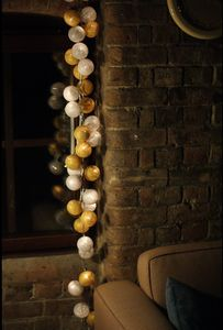 Cotton Lights Lyslenke strøm, 20-baller,  XMAS-Edition (155-SILVER-GOLD-20)