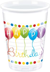 Happy Birthday Plastkopper,  200ml (8 stk) (126-81844)