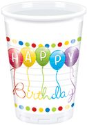 Happy Birthday Plastkopper, 200ml (8 stk)