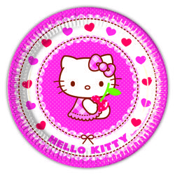 Hello Kitty Papptallerkner, medium (20 cm)