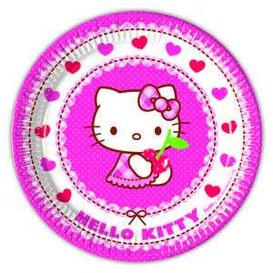 Hello Kitty Papptallerkner,  medium (20 cm) 8 stk (126-81792)