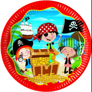 Pirater Papptallerkner, medium (20 cm)