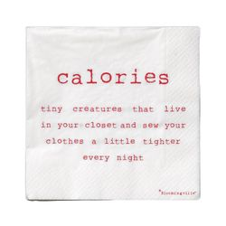 Bloomingville Servietter, 'Calories...', 20 stk