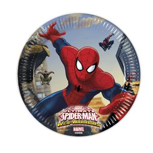Ultimate Spiderman Web Warriors Papptallerkener,  medium (20cm) 8stk (126-85152)