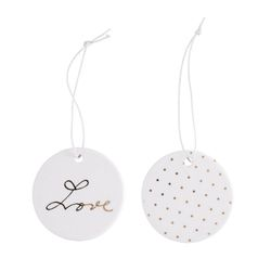 Bloomingville XMAS Ornament Love Hvit-gull, 2stk