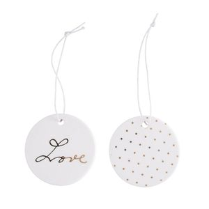Ornament Love Hvit-gull,  2stk