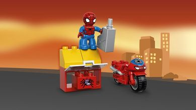 Spidermans MC-verksted med Spiderman-figur
