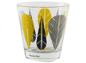 Muurla Leaves Yellow Glass 2-pack