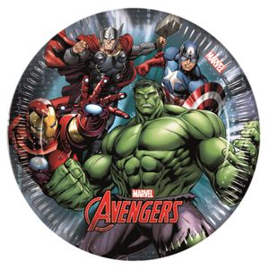 Avengers Power Papptallerkener,  medium (20cm) 8stk (126-86664)