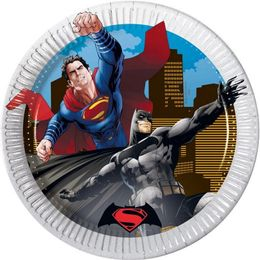 Batman Vs Superman Papptallerkener, medium (20cm) 8stk