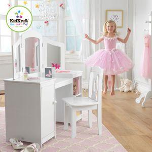 KidKraft Sminkebord og stol, hvitt (101-13018-DEMO)