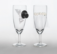 PartyDeco Champagneglass, Brud & Brudgom
