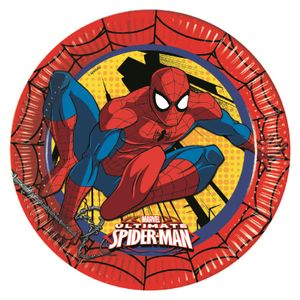 Ultimate Spiderman Power Papptallerkener,  store (23cm) 8stk (126-86668)