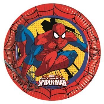 Ultimate Spiderman Power Papptallerkener, store (23cm) 8stk