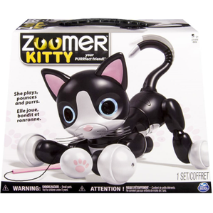 Zoomer Kitty Interaktiv Katt, sort/hvit (320-70312)