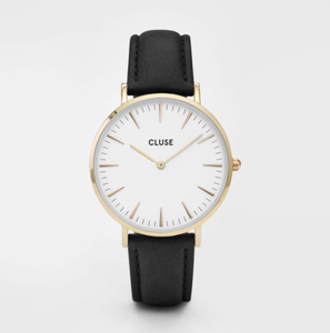 Cluse Klokke LaBoheme Gold, hvit-sort (230-CL18406)