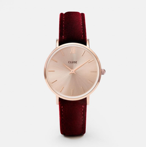 Cluse Klokke Minuit Rose-Gold-Red Velvet (230-CL30042)