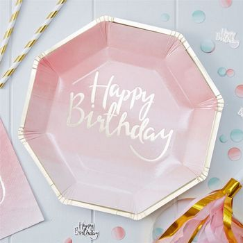 "Pick & Mix Papptallerker ""Happy Birthday"" Rosa (332-PMIXPLAT1)"