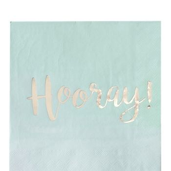 "Pick & Mix Servietter ""Hooray"" - Mint (332-PMIXNAPK6)"