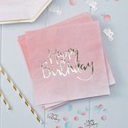 "Pick & Mix Servietter ""Happy Birthday"", Rosa"