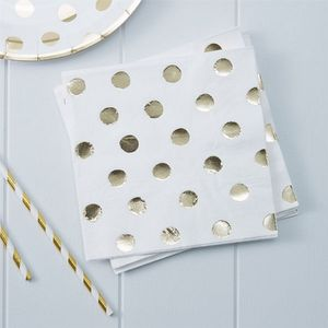 Pick & Mix Servietter Polkadot - Gull (332-PMIXNAPK3)