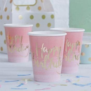 "Pick & Mix Pappkopper ""Happy Birthday"" Rosa (332-PMIXCUPS2)"