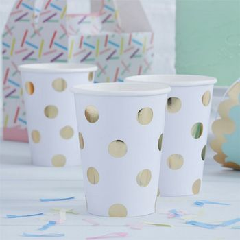 Pick & Mix Pappkopper Polkadot - Gull (332-PMIXCUPS3)