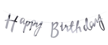 "Pick & Mix Banner ""Happy Birthday""_Sølv L1.5m"