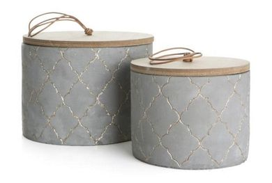 Home Collection Betongkrukke med trelokk, H11cm (220-241041)