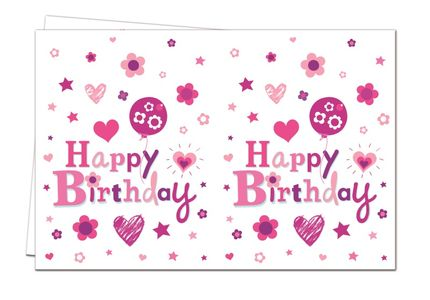 Happy Birthday Rosa Plastduk str. 120x180 cm (126-88203)