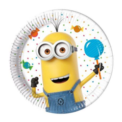 Minions Party Papptallerkner, medium (20cm) 8stk