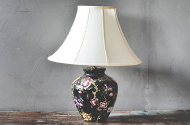 Trend Design Bordlampe Sort m/ blomster (298-186713)