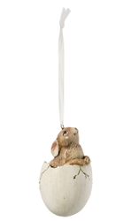 Clayre & Eef Hare i egg, 9cm