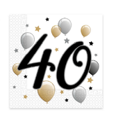 "Milestone Happy Birthday Servietter ""40"" - 20stk"