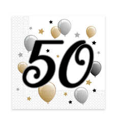 "Milestone Happy Birthday Servietter ""50"" - 20stk"