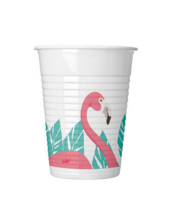 Summer Love Flamingo Plastkopper,  200ml (8stk) (126-89593)