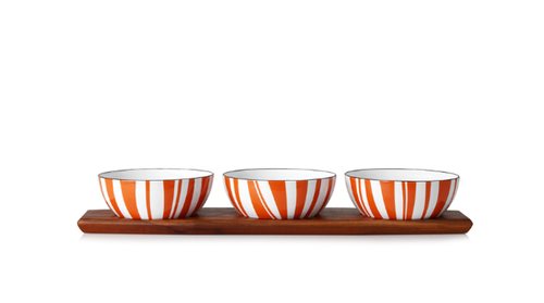 Cathrineholm Stripes Tapas-sett Teak, Orange (364-100379801)
